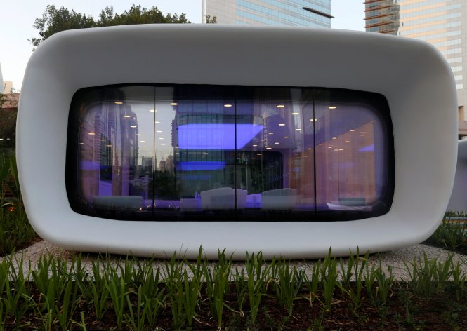 A view of the world's first functional 3D printed offices are seen in Dubai